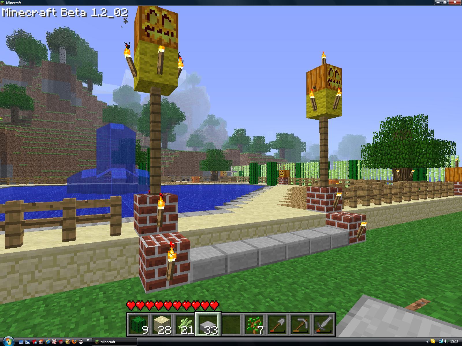 astuce minecraft cration dun fin poteau de bois - Lampadaire Minecraft