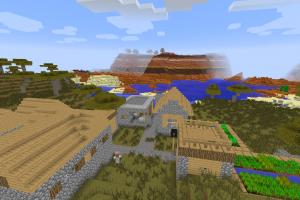 Village au pied d'un biome mesa