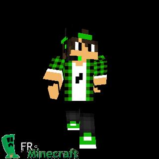 Garçon veste à carreaux verte casquette noire et casques