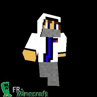 Garçon en blanc avec capuche et foulard